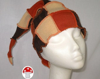 Elf Hat Reis's Pieces Beanie Stocking Cap Orange Yellow Brown Candy Corn Colors Unisex Mens Womens Patchwork Recycled Sweater Art