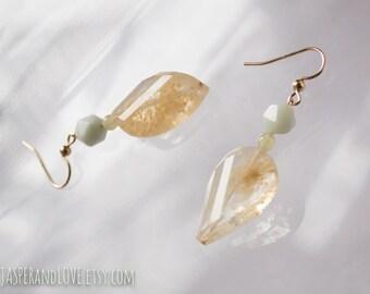 SPRING MOSS gold dangle earrings, wedding earrings, sky blue drop earrings, curved moss quartz earrings, abstract organic sculptural earring