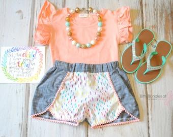 Rainbow Coachella Shorts - Chambray Shorts - Rainbow Shorts - Toddler Coachella shorts - Pom Pom Shorts - Stylish Kid Shorts - Trendy Shorts