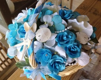 Driftwood and Seashell Flower Girl Basket to match Deluxe Bridal Bouquet availble here on my Etsy