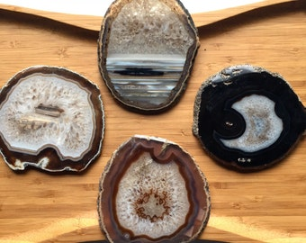 Agate Coasters, natural decor, tea coaster, drink holder, home decor, Housewarming, holiday gift, christmas, present, charging, energy