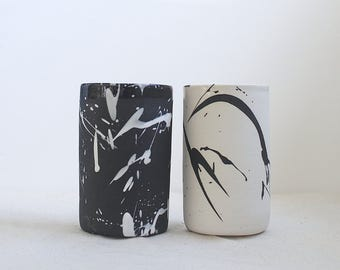 Torrent Tumbler Black and White Cup Simple Vase Made to Order