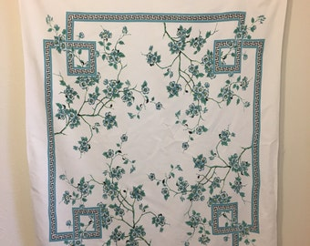 Vintage Tablecloth, Blue White Tablecloth, Vintage Floral Tablecloth, Blue Tablecloth