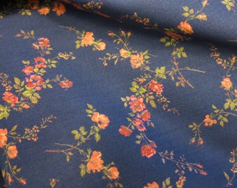 LIBERTY Of LONDON Tana Lawn Cotton Fabric  'Elizabeth' Navy Floral