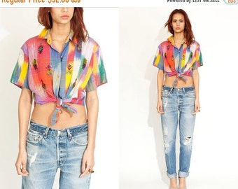 50% OFF ENTIRE STORE Vintage Beaded Aztec South Western Tie Front Crop Top // Navajo Shirt