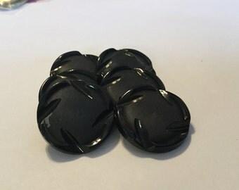 """Vintage Black Plastic Buttons Set of Six 1 1/8"""" Diameter"""