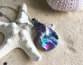 MYSTiC COVE natural abalone shell tear drop shaped necklace beach ocean mermaid jewelry