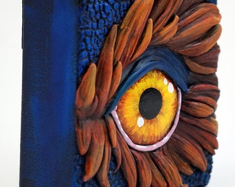 "Blue Asian Dragon Eye ""Ryu"" - 4""x4"" Mixed Media Canvas"