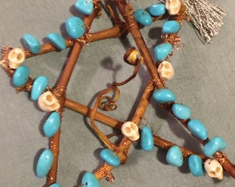 Beaded pentagram turquoise and white carved skulls  protection alter gift