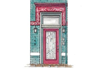 Custom Watercolor Illustration of your Door