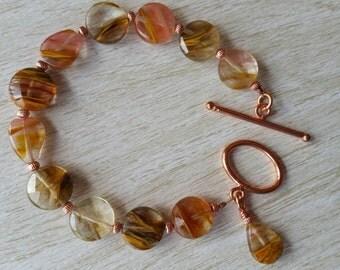 Geniune Fractured Quartz and Copper Bracelet