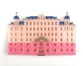 Grand Budapest Hotel pink layered laser cut acrylic brooch