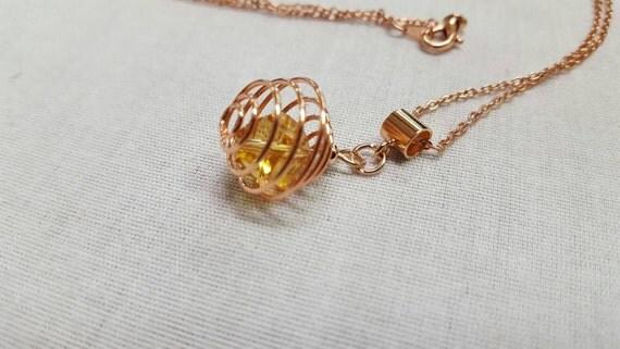 Crystal Rose gold pendant - golden