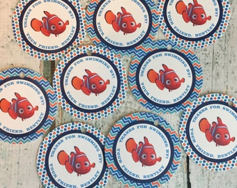 NEMO INSPIRED Happy Birthday or Baby Shower Favor Tags or Stickers 12 {One Dozen} - Party Packs Available
