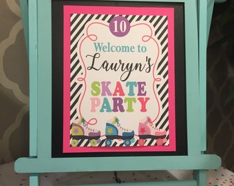 ROLLER SKATE PARTY Happy Birthday Door or Welcome Sign - Party Packs Available