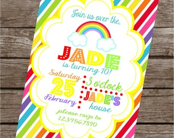 OVER THE RAINBOW Happy Birthday Party or Baby Shower Invitations Set of 12 {1 Dozen} - Party Packs Available