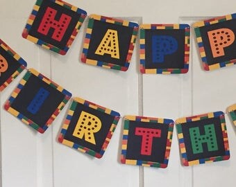 LEGO BUILDING PARTY Inspired Birthday or Baby Shower Party Banner Red Blue - Party Packs Available