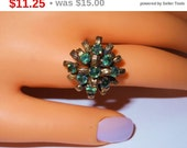 SALE Green rhinestone ring, bronze colored tiered band cocktail ring, size 7 statement ring