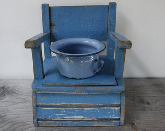Childs Vintage Commode...Potty Trainer....Blue Chippy Painted Wooden Chair.