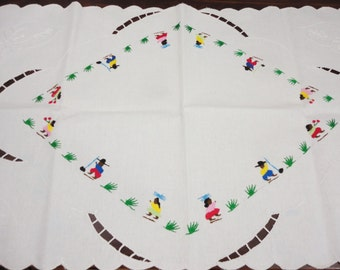 Hand Embroidered White Runner With Peruvian Indian Designs