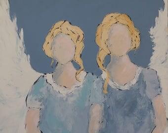 Angel Art Print | My Sister, My Angel | Abstract Angel |  8x8|12x12|16x16