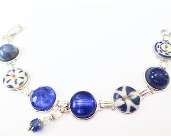 BLUE antique button bracelet. 1800s buttons, silver links
