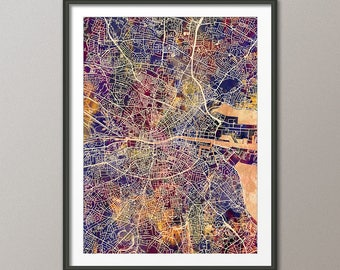 Dublin Map, Dublin Ireland City Map, Street Map of Dublin Eire, Art Print (2803)