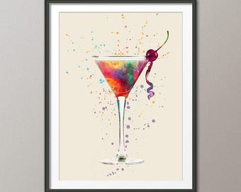 Cocktail Glass, Cocktail Drink, Art Print Poster (2815)