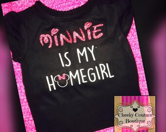 minnie is my homegirl Funny Girl Glitter Shirt Sparkly Clothes minnie mouse
