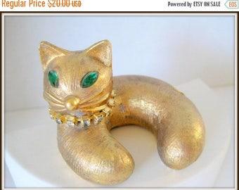 Gold Kitty Rhinestone Lid - Top for Vanity Jar - Green Rhinestone Eyes