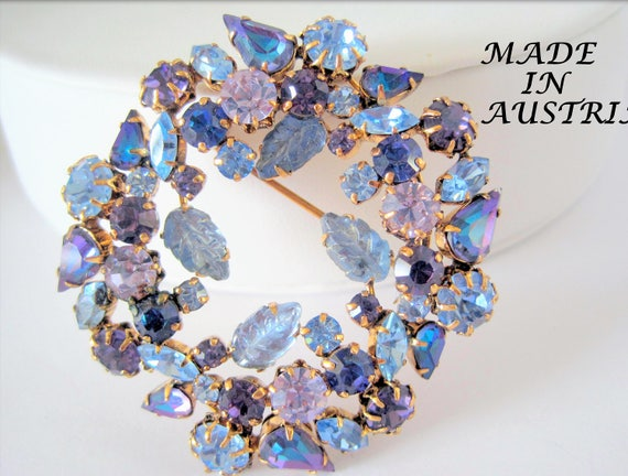 Amethyst  Rhinestone Brooch - Signed Austria - Blue Highlights - Collectible Pin