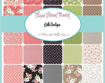 25% Off SALE Olive's Flower Market Charm Pack by Lella Boutique for Moda - One Charm Pack - 5030PP