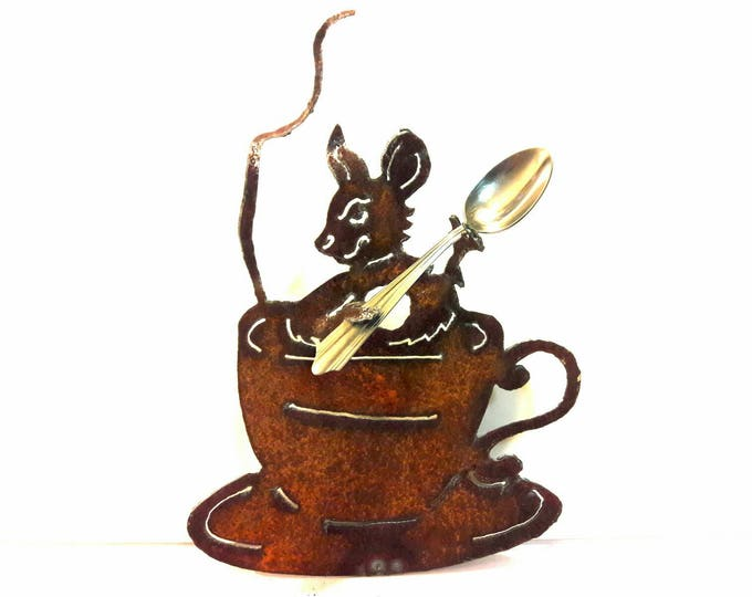 Garden Party Mouse, Garden Art, Tea Party, Rusty Metal Mouse, Tea Cup, Recycled Art, Eco Friendly Yard Art