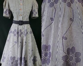 50s Gingham Dress, Embroiered, Rockabilly Dress, Purple Check, Shirtwaist Dress