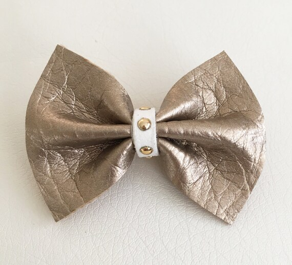 Rose Gold Faux Leather Mini Bow