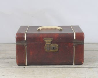 Vintage Midcentury Train Case 50s Retro Brown Cosmetic Travel Carry Case Makeup