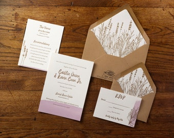 Custom letterpress wedding invitation, hand drawn herbs, watercolor