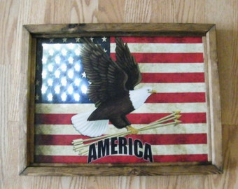 Framed flag eagle AMERICA LED Lighted canvas art picture fiber optic decor sign