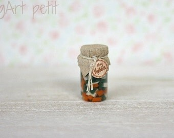 Mixed vegetables  in  a jar - 1/12 scale