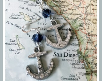 US Navy pride rhinestone anchor earrings - by Son and Sea - FREE US shipping