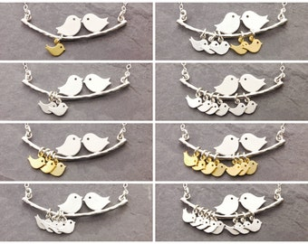 Love Birds Necklace, 1-10 kids, mom necklace, grandma necklace, mother necklace, gifts for grandma, nana necklace, mothers jewelry, N1
