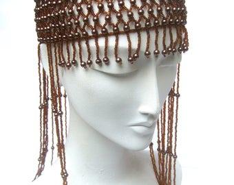 Dramatic Brown Beaded Head Dress c 1980s