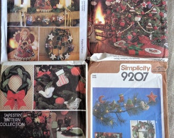 Christmas Craft Patterns Lot of Four Patterns for Tree Skirts Ornaments Stockings and Other Items 1970s to 1990s