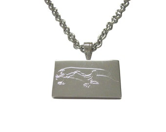 Silver Toned Etched Komodo Dragon Pendant Necklace