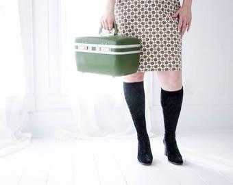 Vintage green train case, hardshell travel suitcase avocado luggage makeup case, mirror, 1970s