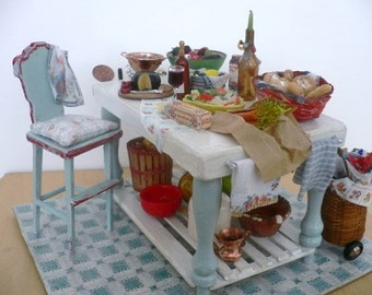 Dollhouse Miniature One Inch Scale Kitchen with Food Setting