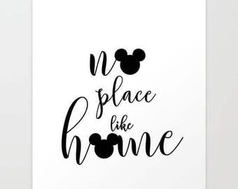no place like home... two mickeys.. men, disney home decor... 16x20..instant digital file