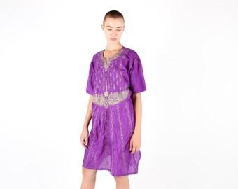 SALE 90s Gold & Purple Embellished INDIAN Floaty Hippie Festival Gypsy Free Size Tee Kaftan Dress