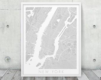 New York City Urban Map Poster.  New York City Street Map Print. Grey New York City. Minimalist NY Wall Art Home Office Decor. Printable Art