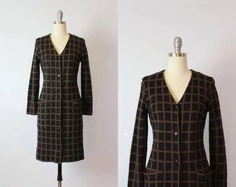 vintage 60s MARIMEKKO dress / 1960s mod knit dress / 1965 design research dress / black brown grid print dress / designer dress